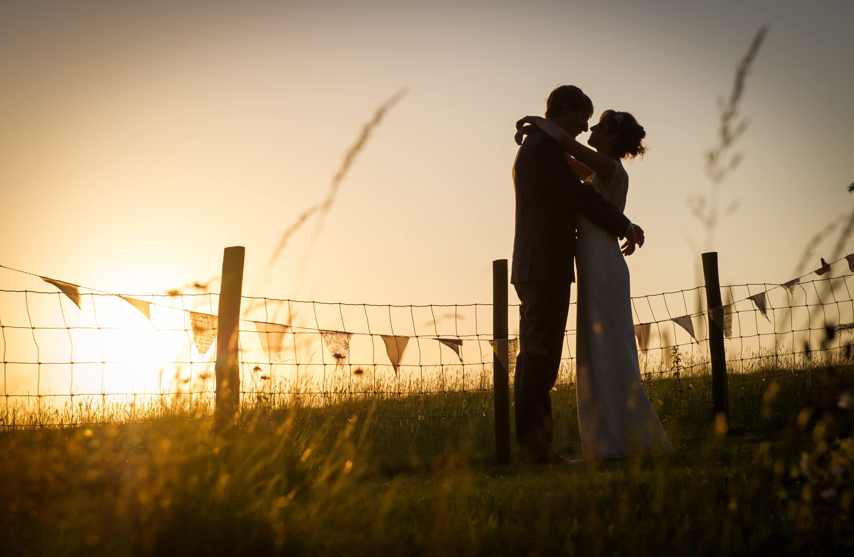 Dorset-Wedding-Photographer-Robin-Goodlad - Bride and groom at sunset