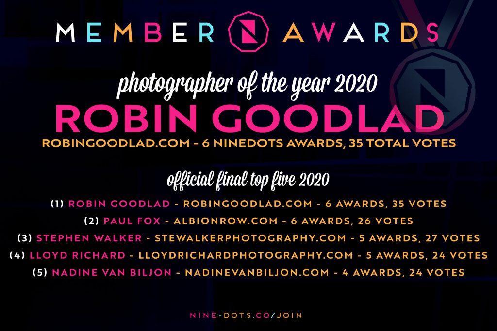 Robin Goodlad named NineDots Wedding Photographer of the year 2020